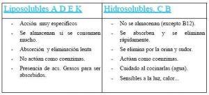 Vitaminas hidrosolubles y liposolubles, hidrosolubles