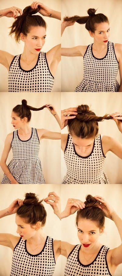 peinados sencillos-moño desordenado