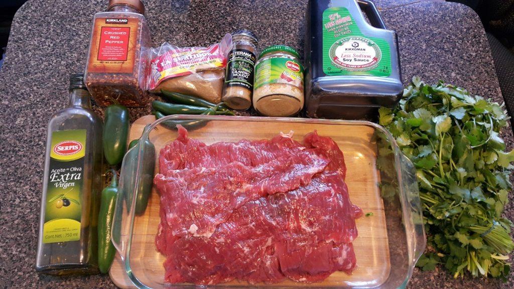 ingredientes para preparar arrachera-con-salsa-de-cilantro